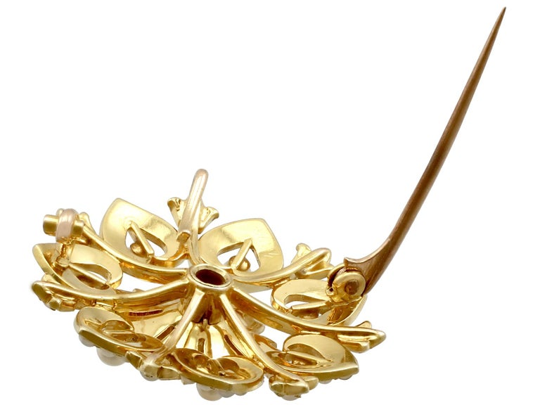 Victorian Seed Pearl and Yellow Gold Necklace or Brooch For Sale 7