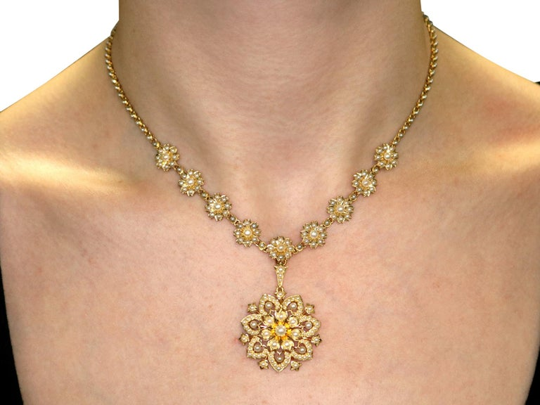 Victorian Seed Pearl and Yellow Gold Necklace or Brooch For Sale 9
