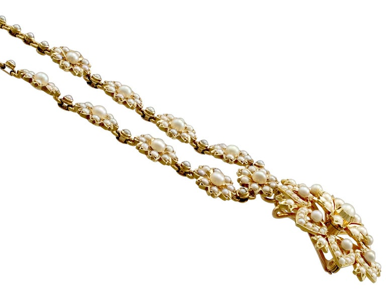 Women's Victorian Seed Pearl and Yellow Gold Necklace or Brooch For Sale