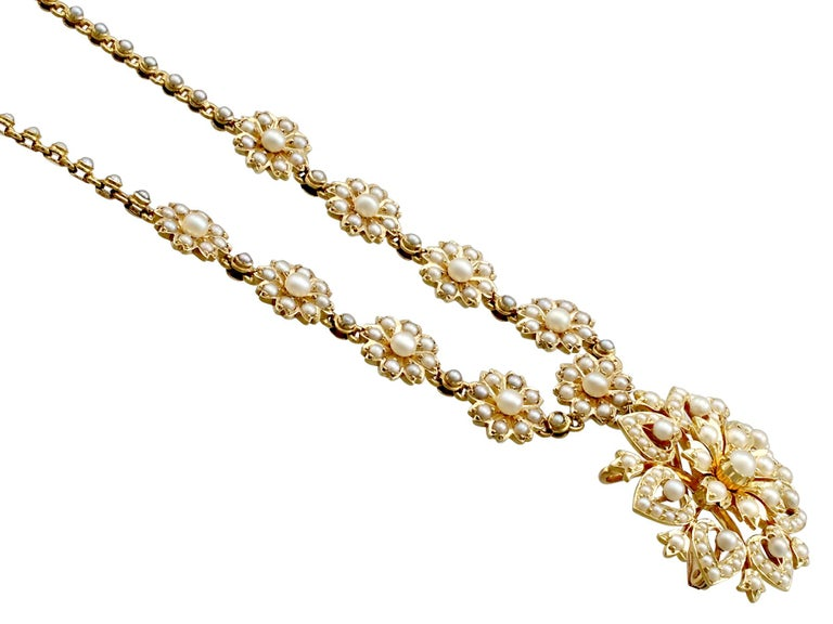 Victorian Seed Pearl and Yellow Gold Necklace or Brooch For Sale 1