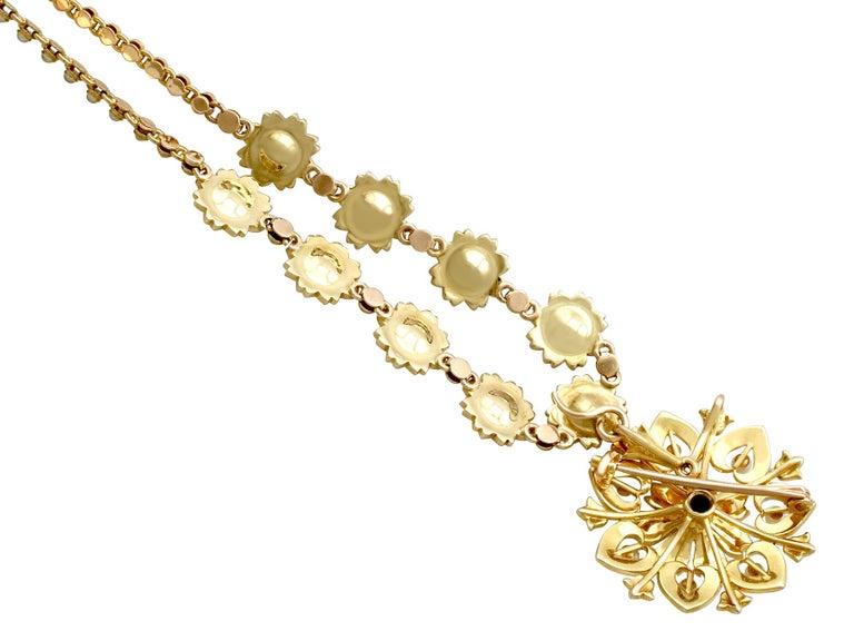 Victorian Seed Pearl and Yellow Gold Necklace or Brooch For Sale 2