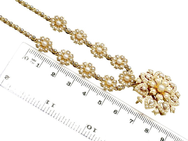 Victorian Seed Pearl and Yellow Gold Necklace or Brooch For Sale 3