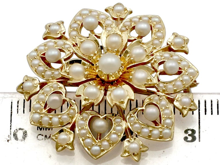 Victorian Seed Pearl and Yellow Gold Necklace or Brooch For Sale 4