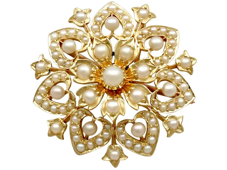 Victorian Seed Pearl and Yellow Gold Necklace or Brooch For Sale 5