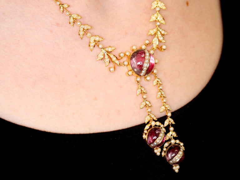 Victorian Seed Pearl and Crystal Yellow Gold Necklace For Sale 8
