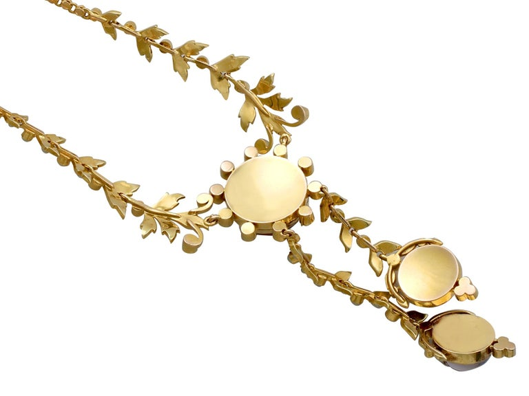 Victorian Seed Pearl and Crystal Yellow Gold Necklace For Sale 1