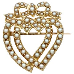 Victorian Seed Pearl and Gold Heart Shaped Brooch