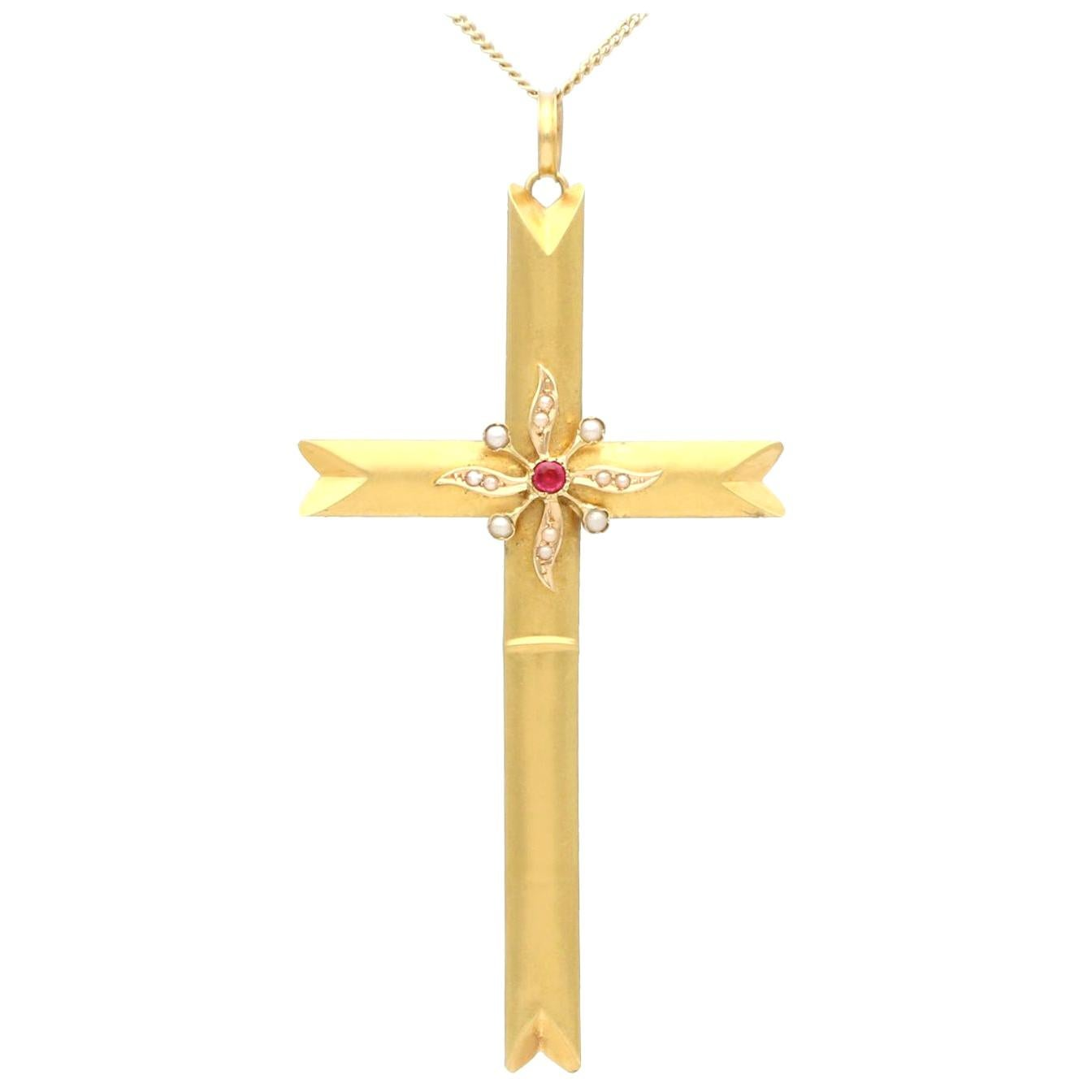 Victorian Seed Pearl and Imitation Gemstone Yellow Gold Cross Pendant