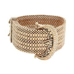 Victorian Seed Pearl Black Enamel Gold Bracelet