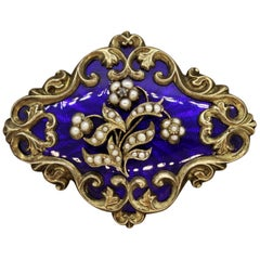 Victorian Seed-Pearl Enamel Gold Mourning Hair Brooch