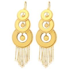 Victorian Seed Pearl Gold Tassel Drop Earrings