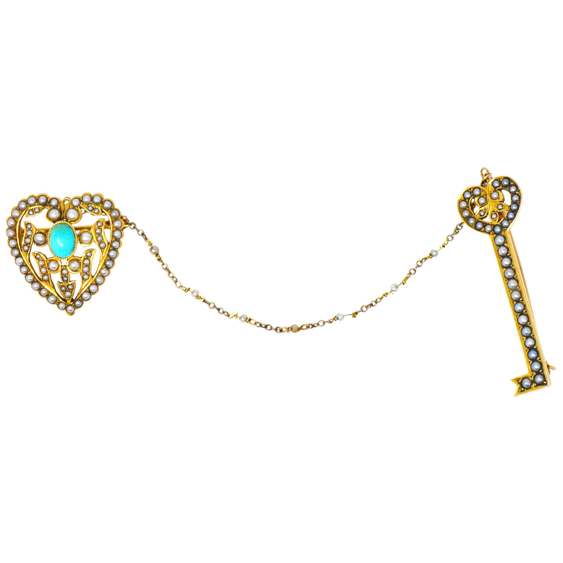 Victorian Seed Pearl Turquoise 14 Karat Gold Key Heart Brooches