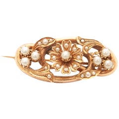 Victorian 14 Karat Yellow Gold Pearls Flower Brooch