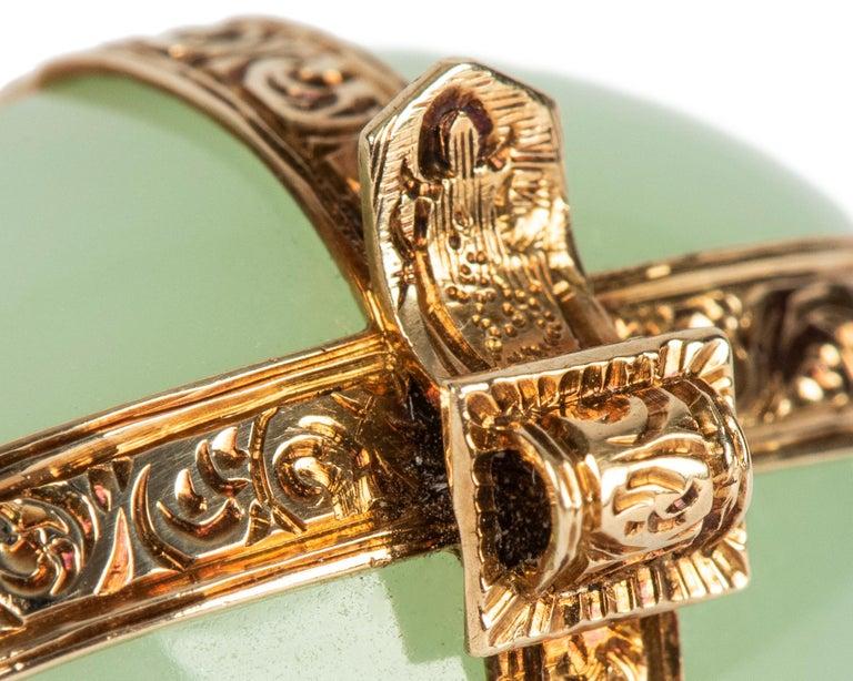 Victorian Serpentine Gold Brooch, circa 1870 For Sale 1
