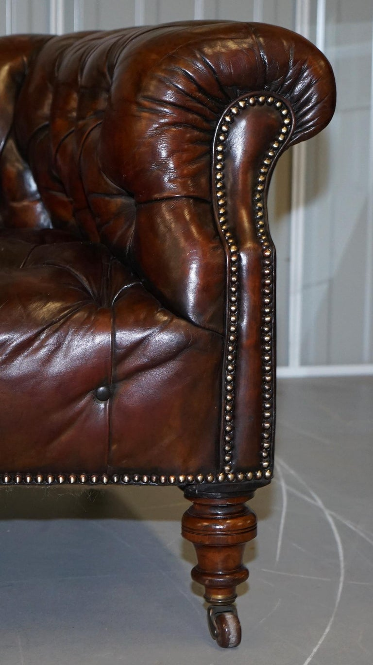 Victorian Serpentine Hand Dyed Restored Whisky Brown Leather Chesterfield Sofa For Sale 4