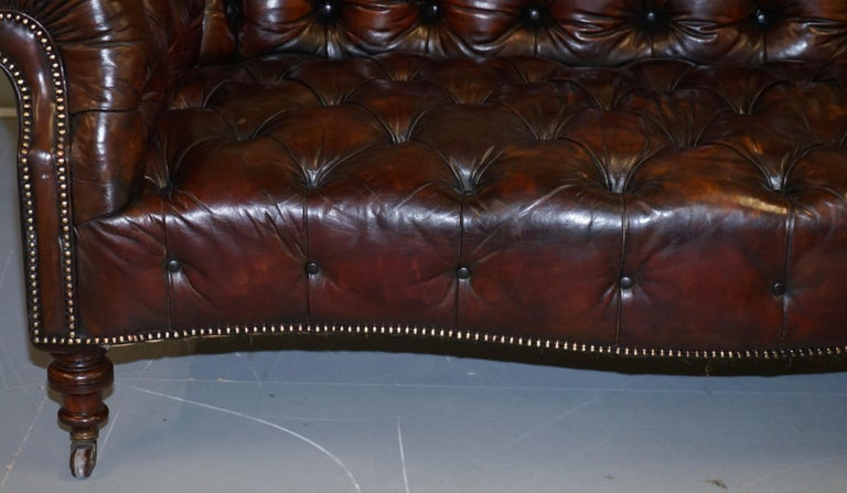 Victorian Serpentine Hand Dyed Restored Whisky Brown Leather Chesterfield Sofa For Sale 6