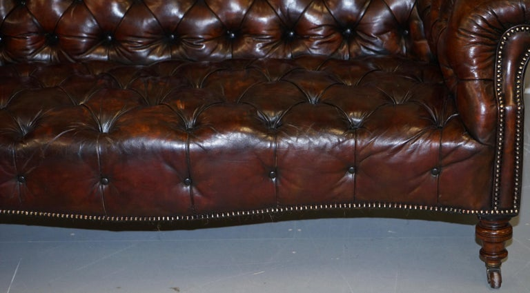 Victorian Serpentine Hand Dyed Restored Whisky Brown Leather Chesterfield Sofa For Sale 7