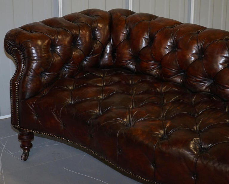 Victorian Serpentine Hand Dyed Restored Whisky Brown Leather Chesterfield Sofa For Sale 9