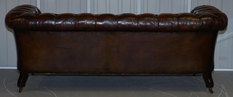 Victorian Serpentine Hand Dyed Restored Whisky Brown Leather Chesterfield Sofa For Sale 12