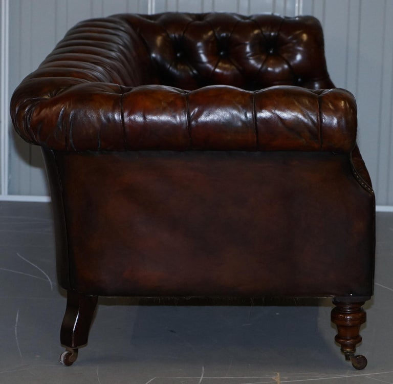 Victorian Serpentine Hand Dyed Restored Whisky Brown Leather Chesterfield Sofa For Sale 13