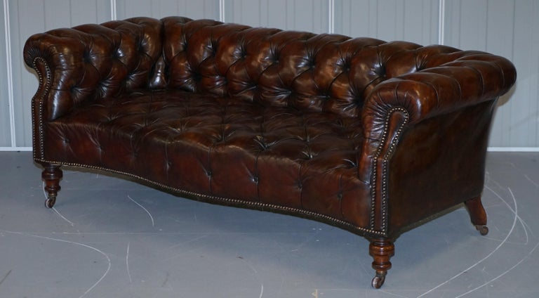 English Victorian Serpentine Hand Dyed Restored Whisky Brown Leather Chesterfield Sofa For Sale