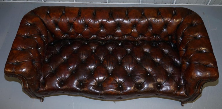 Hand-Crafted Victorian Serpentine Hand Dyed Restored Whisky Brown Leather Chesterfield Sofa For Sale