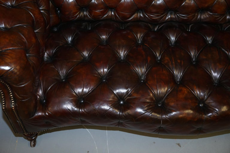 19th Century Victorian Serpentine Hand Dyed Restored Whisky Brown Leather Chesterfield Sofa For Sale