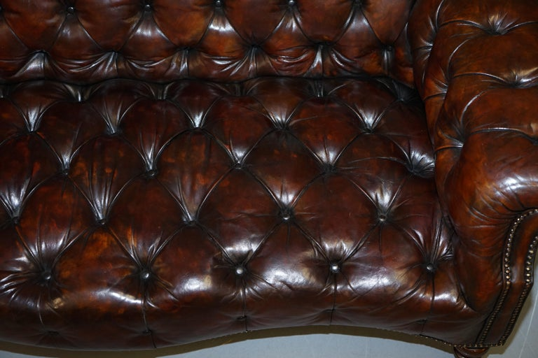 Victorian Serpentine Hand Dyed Restored Whisky Brown Leather Chesterfield Sofa For Sale 1