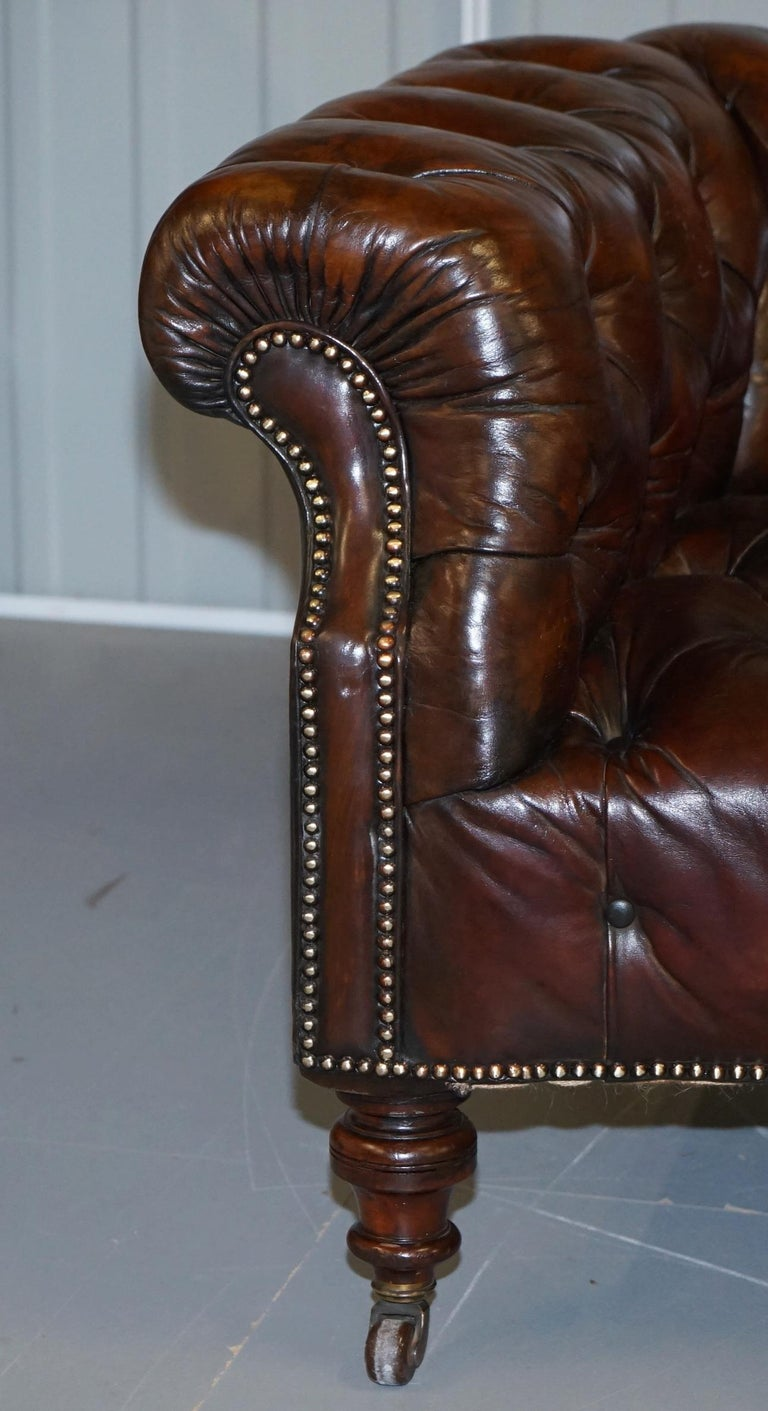 Victorian Serpentine Hand Dyed Restored Whisky Brown Leather Chesterfield Sofa For Sale 2
