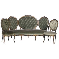 Victorian Set of Settee Chair and 4 Chairs, 19th Century