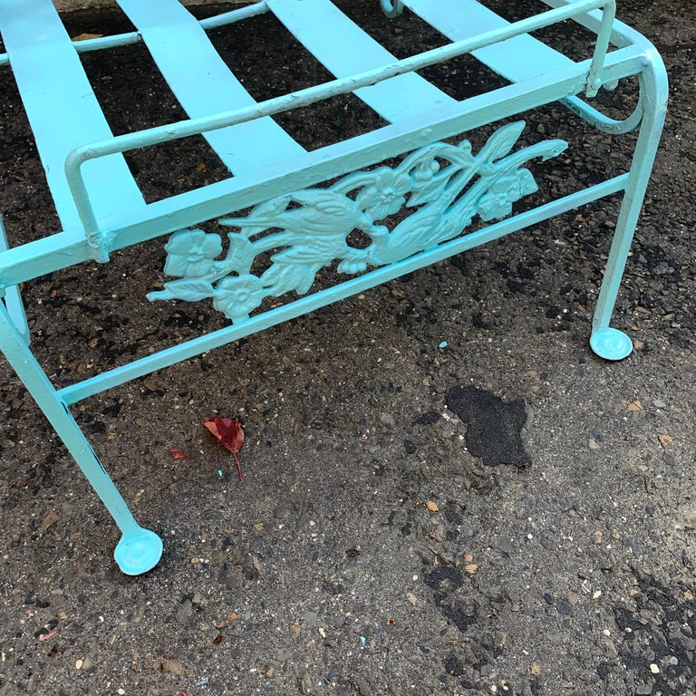 Victorian Set of Turquoise Painted Iron Garden Table, Sofa, Chaise and Armchair For Sale 4