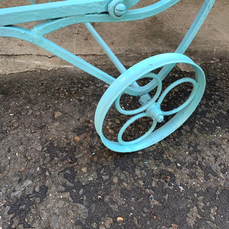 Victorian Set of Turquoise Painted Iron Garden Table, Sofa, Chaise and Armchair For Sale 5
