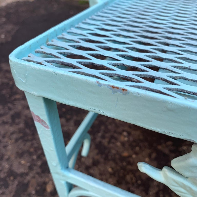Victorian Set of Turquoise Painted Iron Garden Table, Sofa, Chaise and Armchair For Sale 7