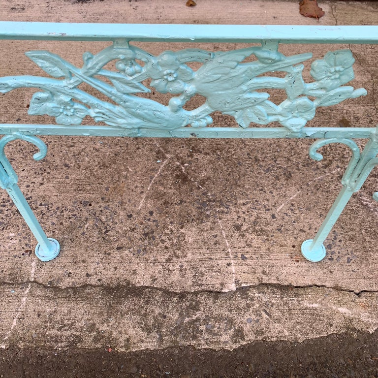 Victorian Set of Turquoise Painted Iron Garden Table, Sofa, Chaise and Armchair For Sale 8