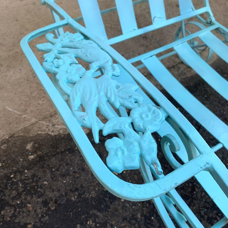 Victorian Set of Turquoise Painted Iron Garden Table, Sofa, Chaise and Armchair For Sale 11