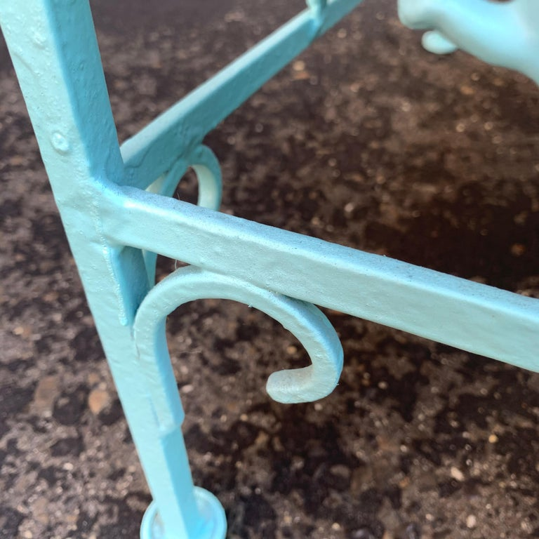 Victorian Set of Turquoise Painted Iron Garden Table, Sofa, Chaise and Armchair For Sale 12