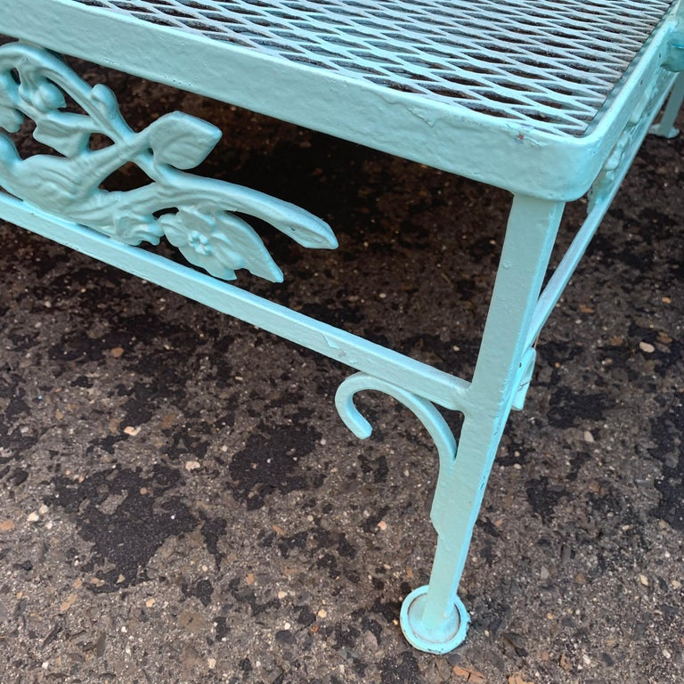 Victorian Set of Turquoise Painted Iron Garden Table, Sofa, Chaise and Armchair For Sale 13