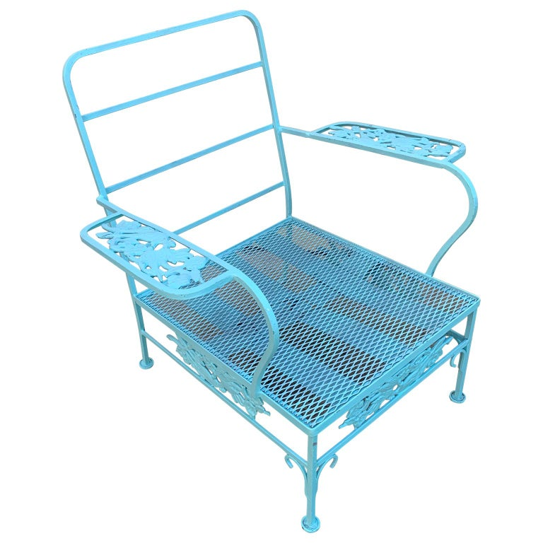 19th Century Victorian Set of Turquoise Painted Iron Garden Table, Sofa, Chaise and Armchair For Sale
