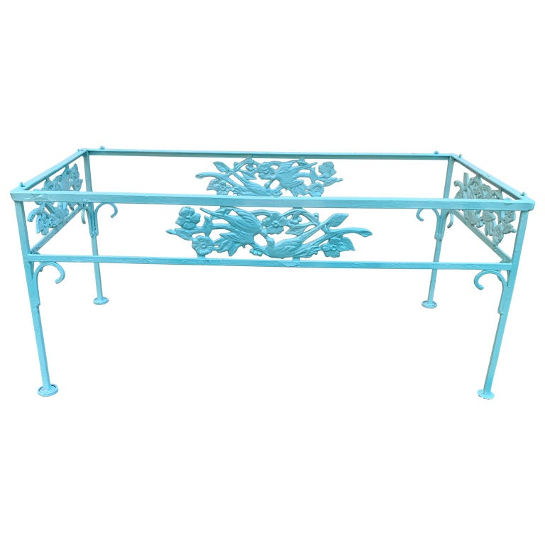 Victorian Set of Turquoise Painted Iron Garden Table, Sofa, Chaise and Armchair For Sale 1