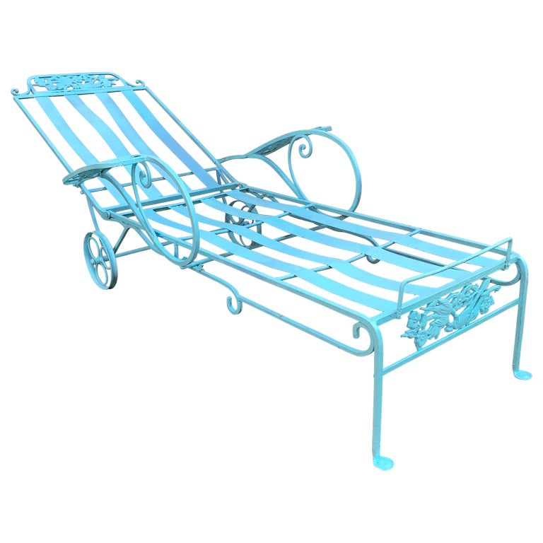 Victorian Set of Turquoise Painted Iron Garden Table, Sofa, Chaise and Armchair For Sale 2