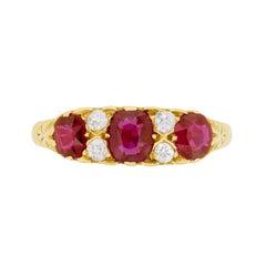 Victorian Seven-Stone Ruby and Diamond Ring, circa 1900s