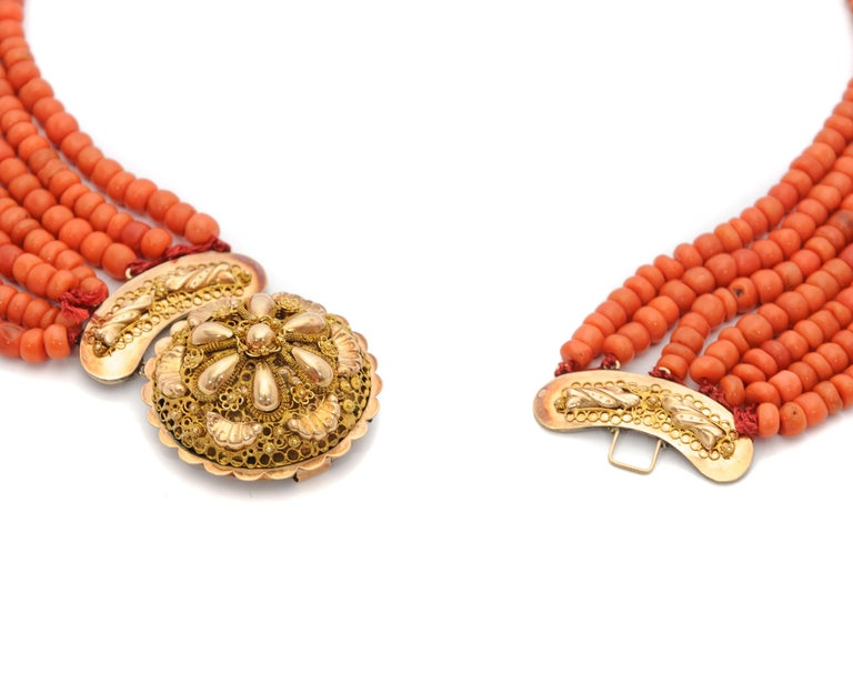Women's Victorian Multi-Strand Red Coral 14 Karat Gold Beaded Necklace For Sale