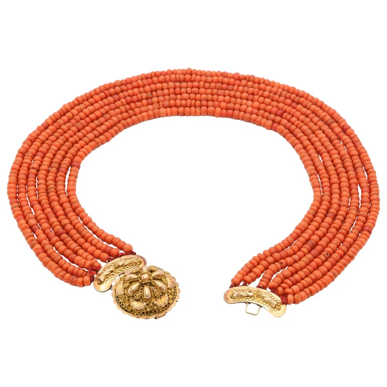 Victorian Multi-Strand Red Coral 14 Karat Gold Beaded Necklace For Sale