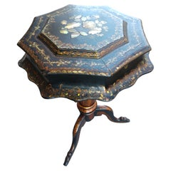 Victorian Sewing Stand with Mother of Pearl and Stenciling