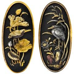 Victorian Shakudo 14 Karat Gold Mixed Metal Floral Bird Men's Cufflinks