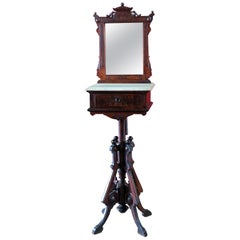 Burled Walnut and Marble Renaissance Revival Shaving Stand C1870