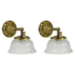Victorian Sheffield Moulded Glass & Brass Sconces 'Pair'