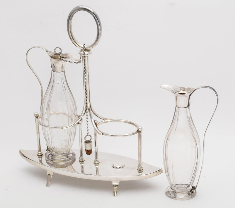 Victorian Sheffield Plate Footed Two-Bottle Cruet Set by William Hutton and Sons For Sale 7