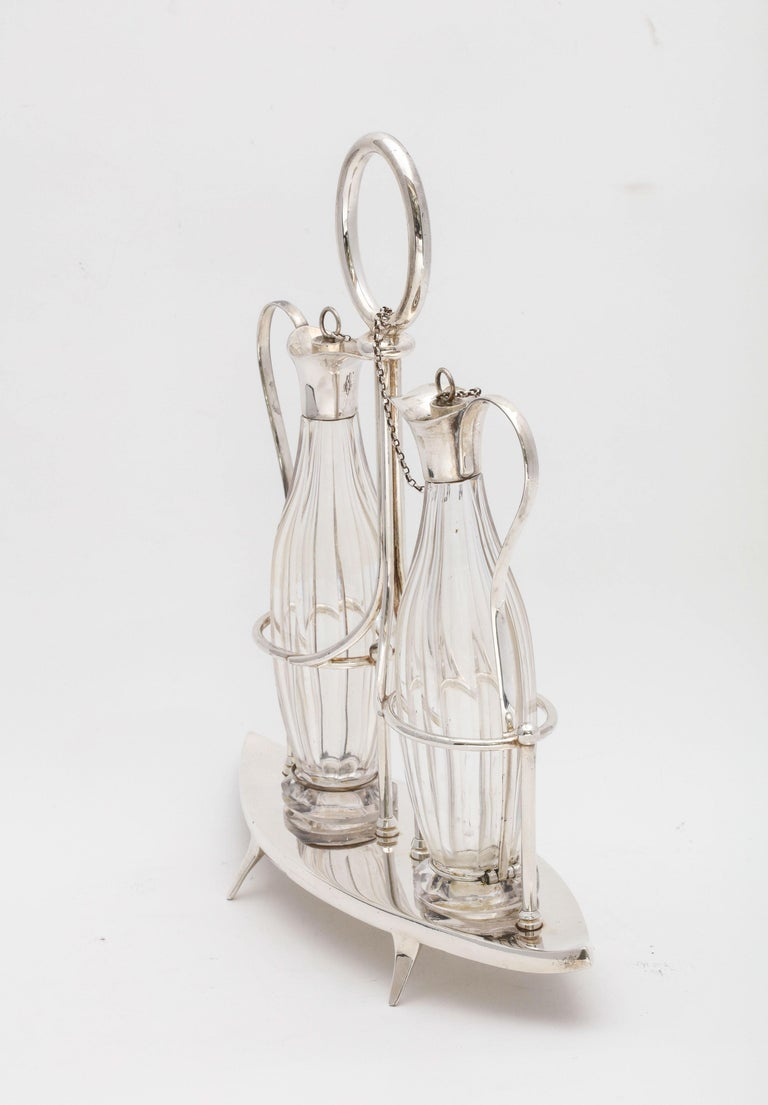 Victorian Sheffield Plate Footed Two-Bottle Cruet Set by William Hutton and Sons For Sale 1