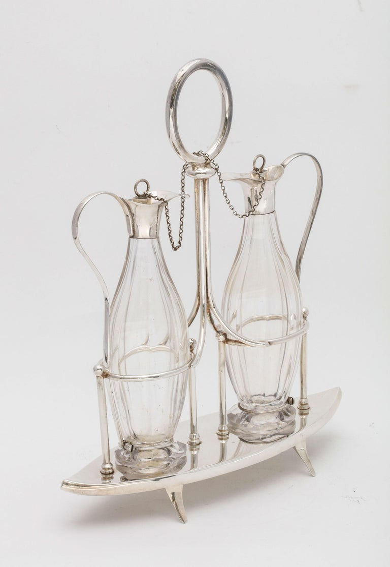 Victorian Sheffield Plate Footed Two-Bottle Cruet Set by William Hutton and Sons For Sale 2